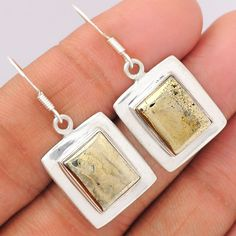 Pyrite in Magnetite (Healer's Gold) 925 Sterling Silver Earrings Jewelry PIME133