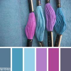Color Palette for Jewelry and Friendship Bracelets Inspiration (Six) Purple Color Schemes, Purple Color Palettes, Bedroom Color Schemes, Colour Pallete, Color Combinations, Color Lila, Color Balance, Color Stories, Color Swatches