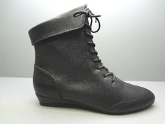 LA UNDERGROUND BLACK LACE UP ANKLE BOOT ON LOW SLIVER WEDGE