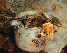 """Giovanni Boldini (1842-1931) - Rosa em um vaso da Saxônia foi um pintor acadêmico italiano """"Foi um artista ultra- chique , na sua maneira particular, especialmente quando ele retratava senhoras da sociedade internacionais que aparecem retratadas como sob um vidro translúcido. Especialista do mundo e da literatura francesa que representava, e interpretava muito bem a elegância feminina em uma época de artifícios de alfaiates e modistas, figurativamente em poses que são ambíguas entre a sala…"""