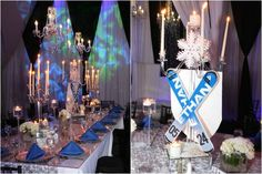 Elegant Blue & Silver Winter Sports & Ski Theme Bar Mitzvah Party {Party at SPACE NJ, Chris Herder Photography} - mazelmoments.com