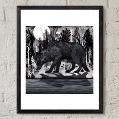 "Inspiration: Print ""Black Shuck"" by @sandradieckmann #wolf #print #tshirtprinting #print #society6 #design #limited #screenprinting #inspiration #artist #artistoftheday #studio #marketing"