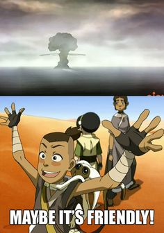 """The mushroom cloud from the murder-suicide in Korra. So wrong...but so funny ;)"" <-- BAHAHAH i didnt realize the top pic was from Korra at first. omg this is so wrongly hilarious"