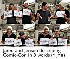 awwwww so adorables!! <3 <3 || Jensen Ackles || Jared Padalecki || Comic Con