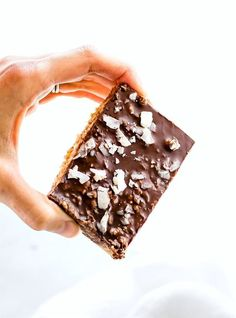 No bake Chocolate Coconut Cashew Bars made in 3 easy steps! These no bake chocolate bars are vegan, paleo, grain free and gluten free. Perfect for snacking on the go or a healthy dessert. No sugar added, no oils, no flours. Simple wholesome ingredients!