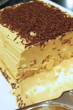 "Semifreddo is an Italian ice cream dessert which literally translates as ""half-cold"" and is basically a partially frozen ice cream. Romanian Desserts, Romanian Food, Italian Desserts, Ice Cream Desserts, Just Desserts, Parfait, Biscuit Cake, Chocolate Coffee, Caramel"