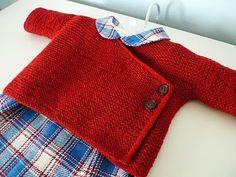 red garter stitch kimono.