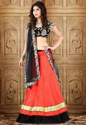 Brighten up your ethnic look. Wear this light red art silk lehenga with poly shantoon lining designed with lace and patch border work. Available with black velvet unstitched choli fabric and black net dupatta. The semi-stitched lehenga waist and hip can be customized from 28 to 40 inches and 28 to 44 inches respectively. The length of the lehenga is 44 inches. Choli shown in image is for photography purpose. (Slight variation in color and patch border work is possible.)