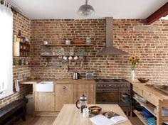 Fabulous Brick Wall Kitchen Style as Your New Kitchen Models: Wonderful But Looks Natural Brick Wall Kitchen Ideas Makes Awesome Kitchen Design With Brick Wall Kitchen Ideas Exposed Brick Kitchen, Brick Wall Kitchen, Exposed Brick Walls, Wooden Kitchen, New Kitchen, Kitchen Industrial, Kitchen Ideas, Industrial Style, Stone Kitchen