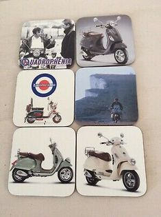 Set of 6 Mod/ scooter drinks coasters hard backed. Wood Coasters, Drink Coasters, Mod Scooter, Traditional Kitchen, Home Decor Styles, Mugs, Drinks, Ebay, Wooden Ship