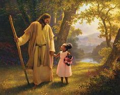 Hand in Hand by Greg Olsen. Jesus with child ✞⛪✞ Greg Olsen, Lds Pictures, Pictures Of Christ, Image Jesus, My Redeemer Lives, Lord And Savior, God Jesus, Daughter Of God, Daughters