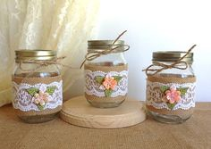 3 piece burlap and lace covered jars, wedding deocrations, bridal shower decor, home decor gift or for you, vase or candle holder. on Etsy, $27.00