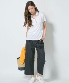 ポロシャツと紺のガウチョで程よい女性らしさ❤︎40代ファッションのアイデア