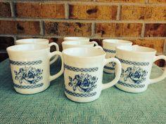 Lovely Arcopal Blue Rose Milk Glass Mugs - France - Set of 7.  on Etsy, $19.95