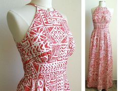 Vintage Red Halter Maxi Dress Hawaiian by PassionFlowerVintage Hawaiian Wear, Hawaiian Tribal, Hawaiian Dresses, Vintage Hawaiian, Samoan Dress, Moda Afro, Island Wear, Creation Couture, Halter Maxi Dresses