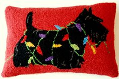 """Scottish Terrier Scottie Dog Holiday Christmas Lights - 12"""" x 18"""" Wool Hooked Pillow"""