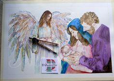 Work in progress, my #nativity #sacrafamiglia #custom #watercolorpainting for my next #artexhibition for #christmas #wings #angel #girl #art #woman #watercolor #handpainted #portrait #illustration #acquerello #ritratto #personalizzato #natale  #colors  #family #baby #newborn #beautiful #cute #watercolorartists #jesus . Dessirèe Pèrez all rights reserved