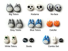 Polymer Clay Totoro and Friends Earrings Chu by JujubisWorkshop
