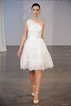 marchesa spring 2014 bridal one shoulder lace short wedding dress...Love the details. Cheaper to have custom-made than purchasing from salon.