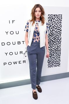 Cool girl Eleanor Calder wears the #DVF Buckley leather vest from our #NYFW Experience, available now! #youbeyou