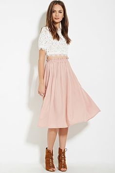 F21 - Contemporary A-line blush pink pleated skirt $19