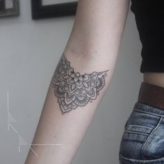 "cutelittletattoos: ""Floral mandala tattoo on Anya's right inner forearm. Tattoo artist: rachainsworth """