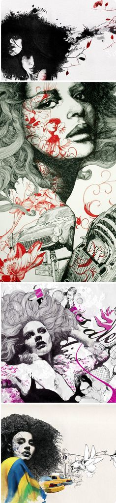 Gabriel Moreno - Conitning the theme of overlapping, layering and double-exposure. How can you use a limited colour-palette to focus the viewers attention? Ap Drawing, Drawing Sketches, Drawings, A Level Art, Ap Art, Foto Art, White Art, Art Inspo, Illustrations Posters