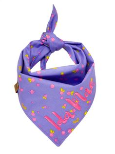 Spring Summer Personalized Puppy Scarf, Purple Pink Floral Dog Bandana, Monogrammed Girl Doggie Scarves, Girly Embroidered Tie Pet Kerchief Short Dog, Puppy Bandana, Kerchief, Shih Tzu, One Pic, Girly, Spring Summer, Monogram, Puppies