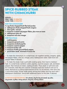 Spice-Rubbed Steak with Chimichurri