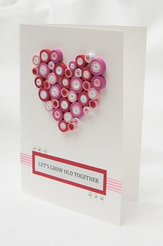 Handmade Valentine's Day Card  quilled heart by PaperParadisePL