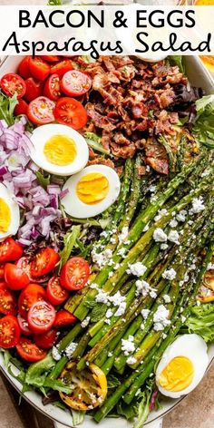 Bacon Eggs and Asparagus Salad – A delicious combination of a simple salad with asparagus, hard boiled eggs and bacon, tossed with a Dijon vinaigrette. Bbq Salads, Easy Salads, Healthy Salad Recipes, Diet Recipes, Recipies, Bacon Recipes, Egg Recipes, Diabetic Recipes, Healthy Foods
