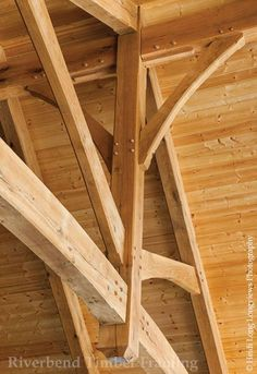 Beautiful, timber frame details in a mountain style home.: