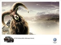 I like this ad because it uses a ram to compare the capabilities of the car to the capability of an animal who climbs mountains like it was nothing. Very god use of hyperbole.