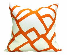 This listing is for one Zimba Orange pillow cover. DESCRIPTION  Designer: F. Schumacher  Colors: Saturated orange-red, off-white      DETAILS  *All