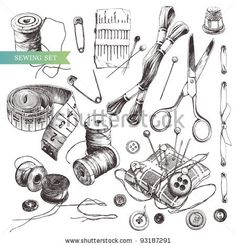 Vector Set: Collection Of Highly Detailed Hand Drawn Sewing And Knitting Tools. - 93187291 : Shutterstock