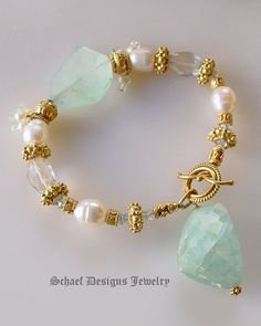 Creamy White Potato Pearl, Afghani Aquamarine Nugget and 22kt Gold Vermeil Gemstone Bracelet | Online Jewelry Boutique | Schaef Designs Artisan Handcrafted Gemstone Jewelry | San Diego, CA