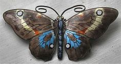 Beautiful Marius Hammer Norwegian Large Solid Silver and Enamel Butterfly 1920'S