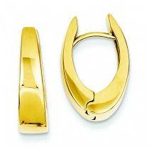 14K Gold Polished Hinged Hoop Earrings