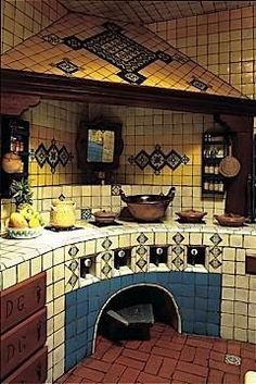 Mexican Style Kitchens, Mexican Style Homes, Mexican Home Decor, Spanish Style Homes, Spanish House, Mexican Kitchen Decor, Spanish Colonial, Mexican Hacienda, Hacienda Style