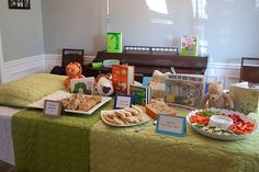 bedtime stories baby shower with book themed finger food! great idea!