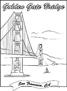 100% free coloring page of the Golden Gate Bridge. Color in this ...