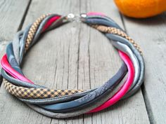 TEXTILE necklace statement twisted necklace recycled by Zojanka