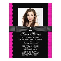Hot Pink Photo Sweet 16 Birthday Party Personalized Announcement.  $1.60