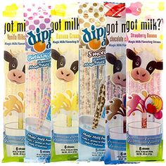 Bundle - 68ct Magic Milk Straws Dippin' Dots and Got Milk Flavored Packs Low Sugar No Fat >>> Be sure to check out this awesome product.