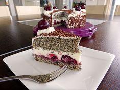 Makovo  višňová  torta Slovak Recipes, Poppy Seed Cake, Cherry Cake, Diy Food, Tiramisu, Sweet Tooth, Birthdays, Cooking Recipes, Sweets