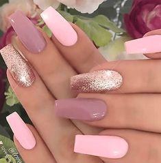Sparkly Nails, Rose Gold Nails, Pink Nails, Cute Nail Designs, Acrylic Nail Designs, Hair And Nails, My Nails, Nagel Tattoo, Unicorn Nails Designs