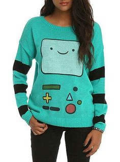 A sweater, good quality beautiful, green water, black, yellow and red, with a form of Adventure Time, a wool material, size medium. womens sweater Adventure Time.