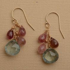 light blue earrings pink stone earrings dangle earrings by izuly, $79.00