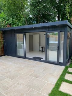 Summer House for the Hot Tub - Kent, UK - Combination Garden Room = Dual purpose: Storage + Changing Room. All year round use. Backyard Office, Backyard Studio, Backyard Patio Designs, Garden Office, Outdoor Office, Summer House Garden, Home And Garden, Small Summer House, Corner Summer House