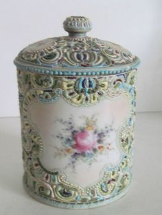 Antique Nippon Moriage Biscuit Jar w Cover | eBay